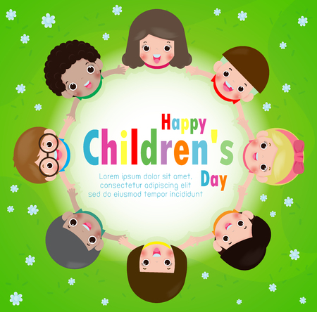 Happy children's day background poster with happy kids holding hands in a circle on the meadow, vector illustration Standard-Bild - 122022105