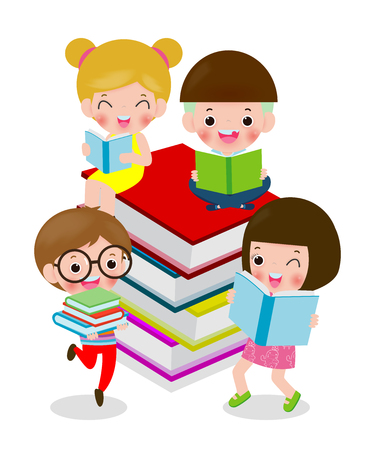 Happy cartoon children while Reading Books, i love book, cute kids reading a book isolated on white background Vector Illustration Ilustração
