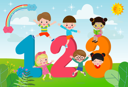 Kreskówka dzieci z 123 numerami, dzieci z numerami, ilustracja wektorowa