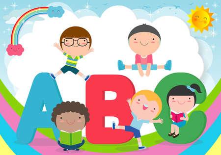 cartoon children with ABC letters, School kids with ABC, children with ABC letters, background Vector Illustration