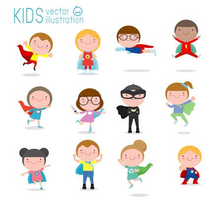Conjunto grande de dibujos animados de niños superhéroes con disfraces de cómics, niños con disfraces de superhéroe, niños con personajes de disfraces de superhéroe aislados sobre fondo blanco, niños pequeños y lindos de superhéroes