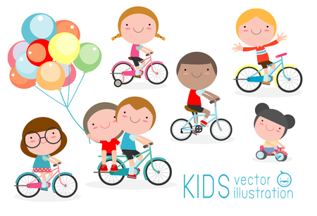 Happy kids on bicycles, Child riding bike,Kids riding bikes, Child riding bike, kids on bicycle vector on white background,Illustration of a group of kids biking on a white background.