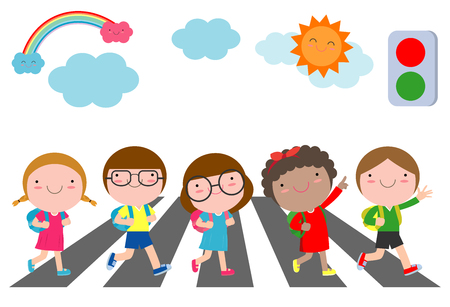 kids across the road, Students walk across the crosswalk with a traffic light, back to school Vector Illustration