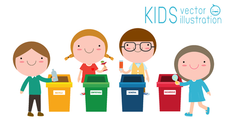 Children collect rubbish for recycling, Kids Segregating Trash, recycling trash, Save the World, Boy and girl recycling isolated on white backgrounds vector Illustration
