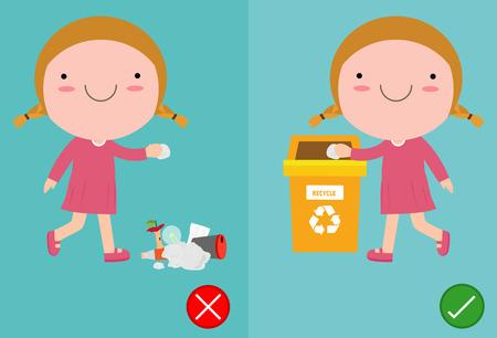 Werfen Sie keine Müllkippen auf den Boden, falsche und richtige weibliche Figur, die Ihnen das richtige Verhalten zum Recyceln zeigt Vektorgrafik