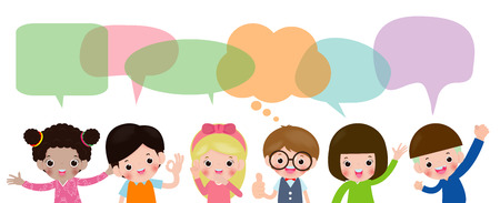 Cute kids with speech bubbles, Set of diverse children and Different nationalities with speech bubbles isolated on white background