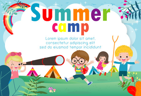 kids summer camp education Template for advertising brochure, children doing activities on camping , poster flyer template, your text ,Vector Illustration Ilustracja