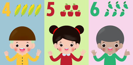 la mano dei bambini che mostra il numero quattro cinque sei, i bambini che mostrano i numeri 4 5 6 con le dita. Concetto di istruzione, illustrazione di vettore del materiale di apprendimento dei bambini isolata su background Vettoriali