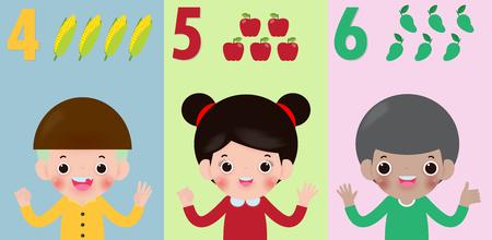 mano de los niños mostrando el número cuatro cinco seis, los niños mostrando los números 4 5 6 con los dedos. Concepto de educación, ilustración de vector de material de aprendizaje de niños aislado sobre fondo Ilustración de vector