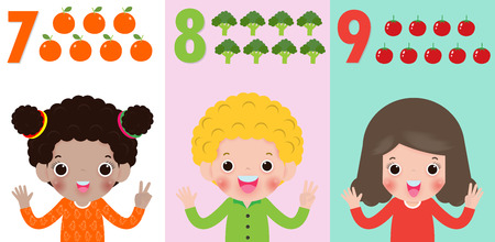children hand showing the number Seven, eight, nine , kids showing numbers 7,8,9 by fingers. Education concept, Kids learning material vector illustration isolated on background Illusztráció