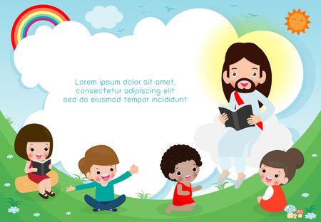 Jésus-Christ lisant la Bible avec des enfants.Jésus prêchant à un groupe d'enfants. Modèle de brochure publicitaire. Prêt pour votre message. illustration vectorielle