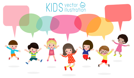 Cute kids with speech bubbles, stylish children jumping with speech bubble, child talking with speech balloon.