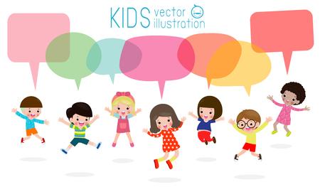 Cute kids with speech bubbles, stylish children jumping with speech bubble, child talking with speech balloon.