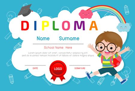 Certyfikat ilustracji wektorowych dyplom dla dzieci, certyfikaty przedszkole i elementarne, szablon projektu certyfikatu dyplomu dla dzieci w wieku przedszkolnym, szablon dyplomu dla uczniów przedszkola