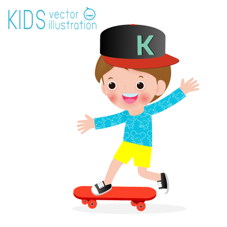 kid playing Skateboarding on isolated on white background, children and sport Vector Illustration