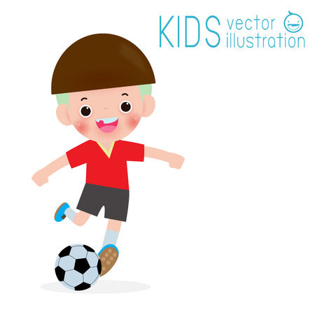 kid playing football on isolated on white background, children and sport Vector Illustration Stockfoto - 125028371