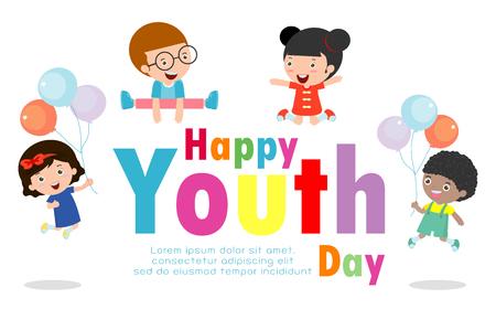 Carte de voeux Happy Youth Day, affiche de fond de la Journée internationale de la jeunesse Modèle de brochure publicitaire Illustration vectorielle