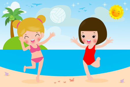 Cute little girl Playing Volleyball on Beach, kids Doing Sports and Relaxing on Beach, Children Summer Outdoors Vector Illustration 向量圖像
