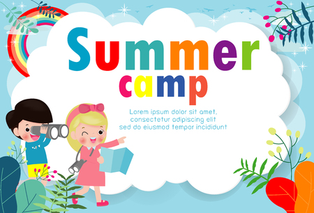 kids summer camp education Template for advertising brochure, children doing activities on camping , poster flyer template, your text ,Vector Illustration Ilustração Vetorial