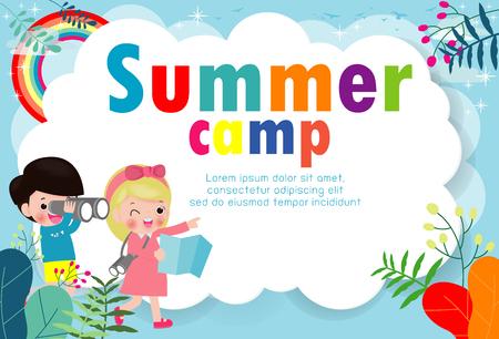 modello di educazione del campo estivo per bambini per brochure pubblicitaria, bambini che fanno attività in campeggio, modello di volantino poster, testo, illustrazione vettoriale Vettoriali