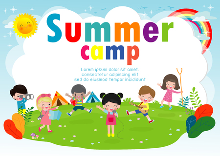 kids summer camp education Template for advertising brochure, cute children doing activities on camping, boy scouts, poster flyer template, your text ,Vector Illustration