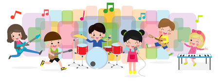 grupo de niños tocando instrumentos musicales, dibujos animados de niños bailando, lindo niño músico varias acciones tocando música. Reproducir música concepto ilustrador vector Ilustración de vector