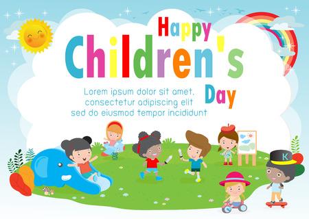 Cartel de fondo del día de los niños felices con niños felices jugando en la ilustración de vector de patio Ilustración de vector