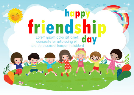 Happy friendship day greeting card with diverse friend group of Children Holding hands and jumping on a meadow for special event celebration background poster Template for advertising brochure Vector
