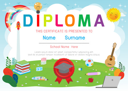 Certificats maternelle et élémentaire, modèle de conception de modèle de certificat de diplôme pour enfants d'âge préscolaire, modèle de diplôme pour les élèves de la maternelle, certificat de diplôme pour enfants