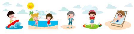 children rest in the summer on a tropical beach on vacation holiday concept set, surfer boy, kids eating watermelon and ice cream, child Playing Volleyball on Beach vector illustration