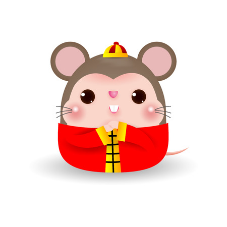 Little rat blessing the Happy Chinese new year 2020 year of the rat zodiac, Cartoon vector illustration isolated on white background.