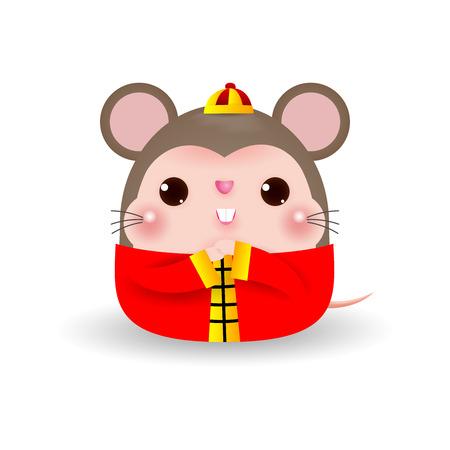 Piccolo ratto che benedice il felice anno nuovo cinese 2020 anno dello zodiaco del ratto, fumetto illustrazione vettoriale isolato su sfondo bianco.