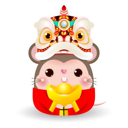 Pequeña rata con cabeza de danza del león con oro chino, feliz año nuevo chino 2020 año del zodíaco de la rata, ilustración vectorial de dibujos animados aislado sobre fondo blanco. Ilustración de vector