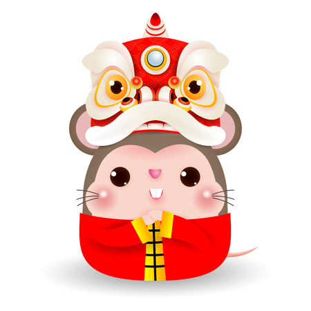 Little rat with Lion Dance Head, Happy Chinese new year 2020 year of the rat zodiac, Cartoon vector illustration isolated on white background. Vectores
