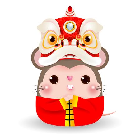 Pequeña rata con cabeza de danza del león, feliz año nuevo chino 2020 año del zodíaco de la rata, ilustración vectorial de dibujos animados aislado sobre fondo blanco. Ilustración de vector