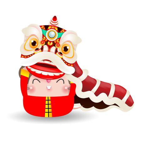 La pequeña rata realiza la danza del león, feliz año nuevo chino 2020 año del zodíaco de la rata, ilustración vectorial de dibujos animados aislado sobre fondo blanco.