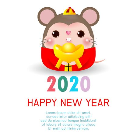 Happy New Year 2020. Chinese New Year. The year of the rat. Happy New Year greeting card with cute rat, background illustration Vector