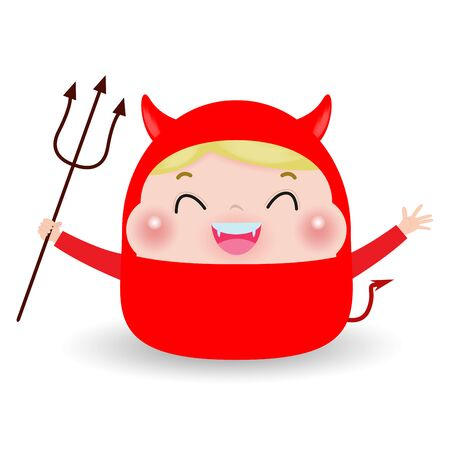 Cute little Red Devil Demon. boy kid in Halloween costume isolated on white background. Halloween Kid Costume Party Vector illustration.