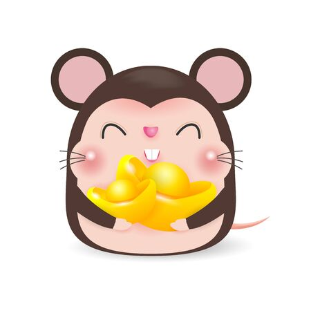 Little rat with holding Chinese gold, Happy Chinese new year 2020 year of the rat zodiac, Cartoon vector illustration isolated on white background.