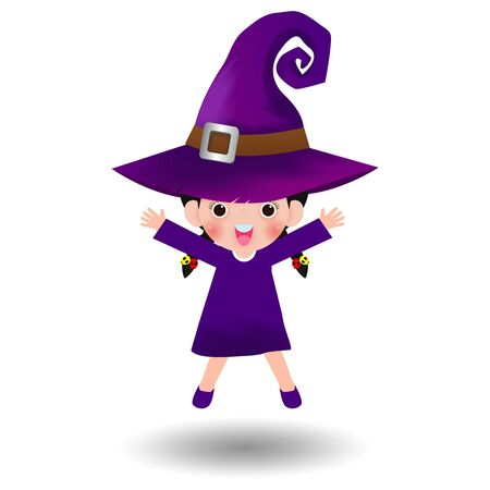 Happy Halloween. Cute little witch. Girl kid in Halloween costume isolated on white background. Kid Costume Party Vector illustration. Vettoriali