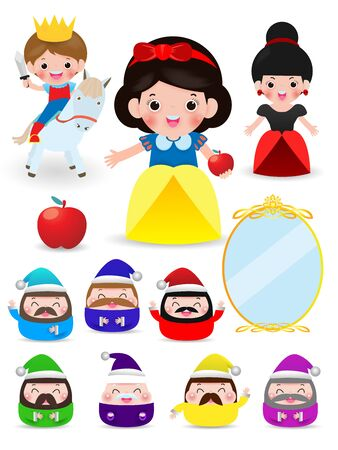 Princess and Dwarfs and witch, Vector Illustration