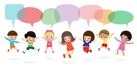 Cute Kids Playing Outside with speech bubbles, stylish children jumping with speech bubble, child talking with speech balloon isolated on white background,Vector Illustration