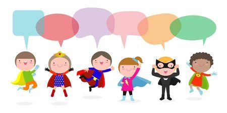 Simpatici bambini di supereroi con fumetti, set di bambini supereroi con fumetti isolati su sfondo bianco, illustrazione vettoriale Vettoriali