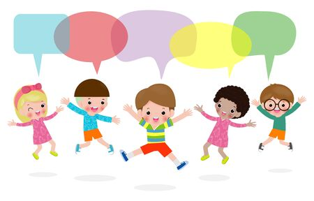 Cute Kids Dancing with speech bubbles, stylish children jumping with speech bubble, child talking with speech balloon isolated on white background,Vector Illustration Illustration