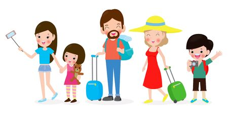 Set of people traveling, Family holiday, Tourism day vector illustration isolated on white background  イラスト・ベクター素材