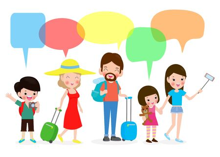 Set of people traveling, Tourism day, Family holiday with speech bubble, tourist talking with speech balloon vector illustration isolated on white background
