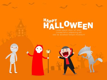 Happy Halloween Costume Party. Halloween cosplay. Template for advertising brochure. Happy Halloween party poster and theme design background Vector illustration