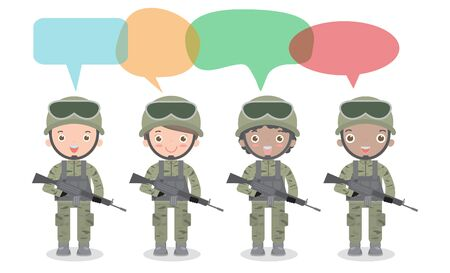 set of soldiers with speech bubble, talking with speech balloon vector illustration isolated on white background US Army, soldiers Isolated vector illustration.
