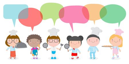 Characters set of children cooks. People boy and girl chef with speech bubble, talking with speech balloon vector illustration isolated on white background Foto de archivo - 129625655