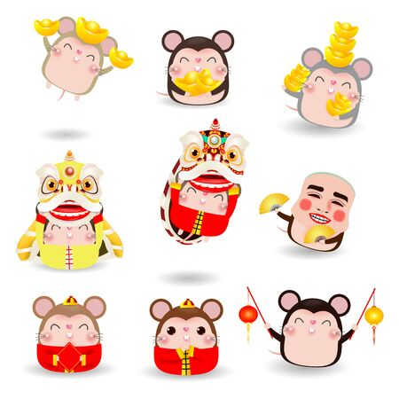 Set of cute little cartoon rats, Happy Chinese new year 2020 of the rat zodiac isolated on white background Vector illustration